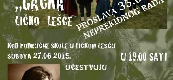KUU Gacka iz Lešća - proslava 35. godišnjice neprekidna rada