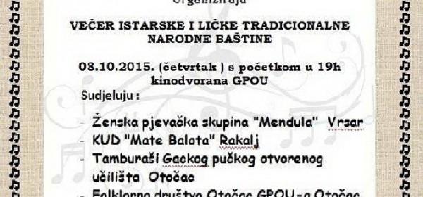 Večer istarske i ličke tradicionalne narodne baštine