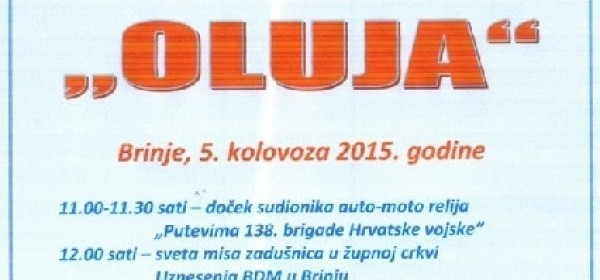 Program obilježavanja Dana pobjede i domovinske zahvalnosti u Brinju