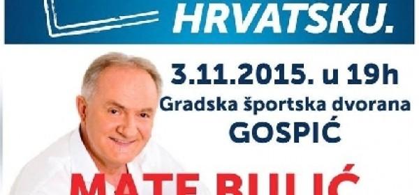 Mate Bulić na predizbornom skupu HDZ-a u Gospiću