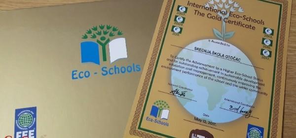 Zlatni eko-certifikat Srednjoj školi Otočac