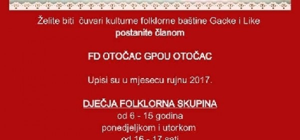 Folklorno društvo Otočac u rujnu prima nove članove