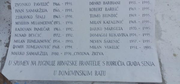 Otvaranje Spomenika poginulim hrvatskim braniteljima Domovinskog rata s područja grada Senja