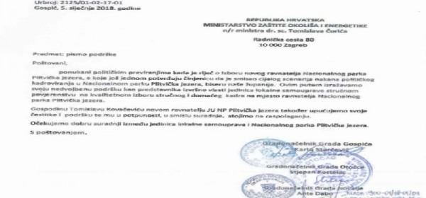 Pismo podrške novom ravnatelju NP Plitvička jezera