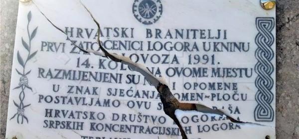 Hrvatsko društvo logoraša osudilo razbijanje spomen-ploče u Tepljuhu