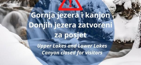 Zbog snijega Gornja jezera i kanjon Donjih jezera zatvoreni