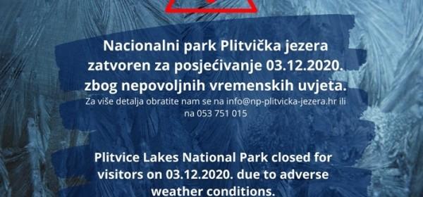 Plitvička jezera danas zatvorena za posjetitelje