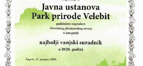 """Javnoj ustanovi """"Park prirode Velebit"""" dodjeljena godišnja nagrada u kategoriji Najbolji vanjski suradnik."""